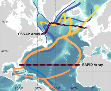 Schematic map of UK OSNAP array, with RAPID array shown